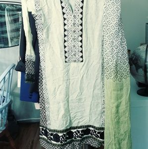 Mint green, white and black salwar kameez